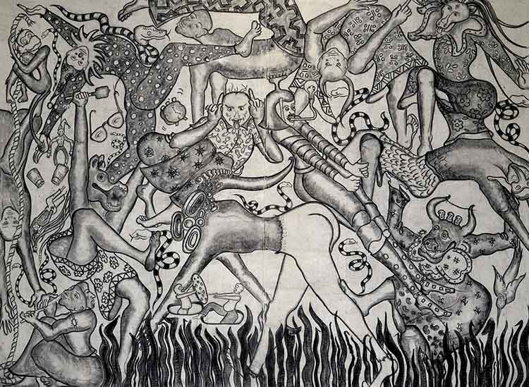 """""""A FANTASTIC COLLISION OF THE THREE WORLDS""""-XXIX. Charcoal and Oil Stick on Canvas. 9 by 12 Feet, 2017. © Amita Bhatt"""