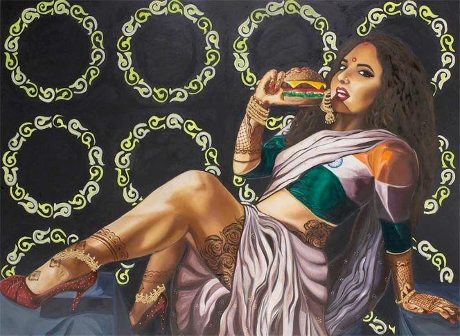 Bharti And The Cheeseburger (2016). Oil on canvas, 36x48 inches. Featuring Dr. Tanya Rawal of Saree Not Sorry.