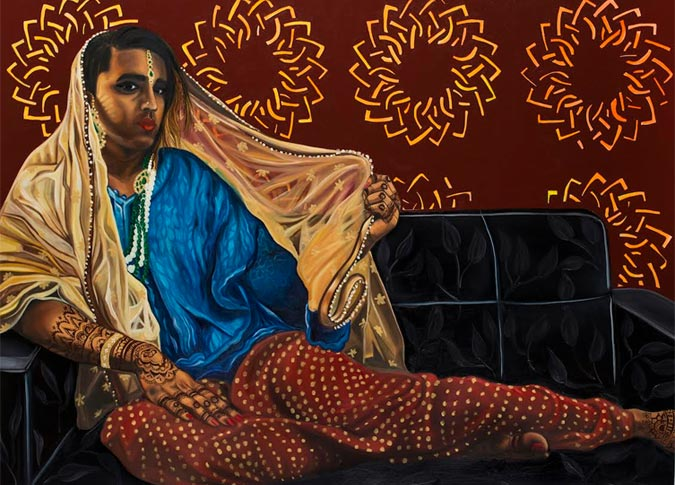 Venus Shraya (2016). Oil on canvas, 36x48 inches. Featuring Vivek Shraya (Author, artist and musician)