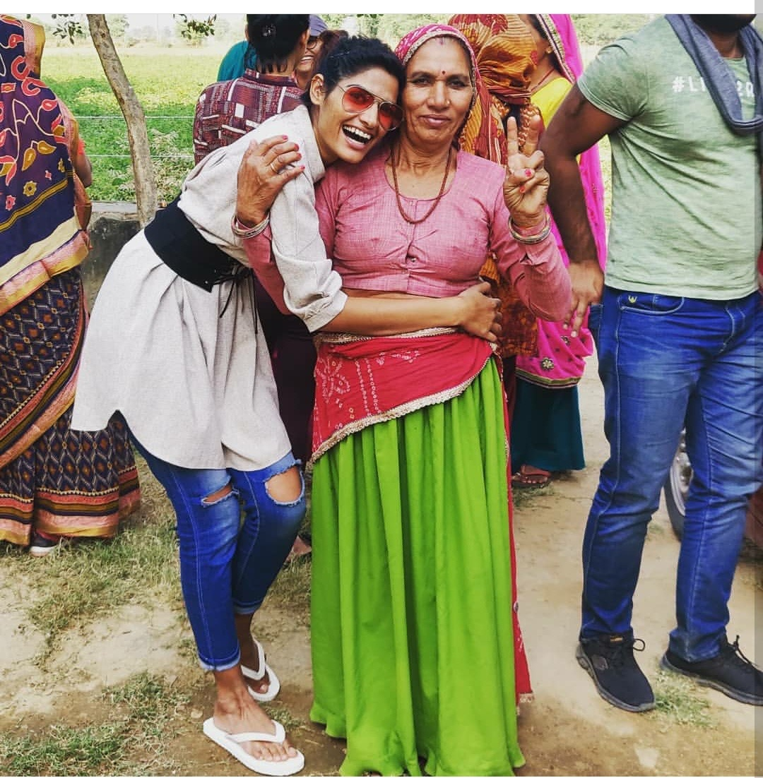 Nisha with her mother